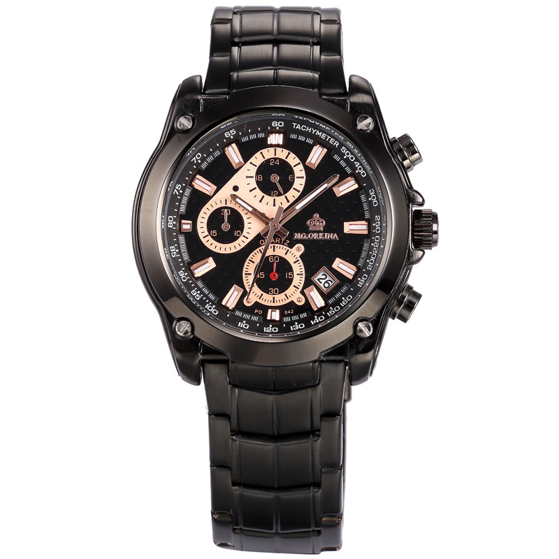 MG. ORKINA Japan Movement Six Hand Full Stainless Steel Mens Watches Top Brand Luxury Quartz Wristwatch Heren Horloges<br>