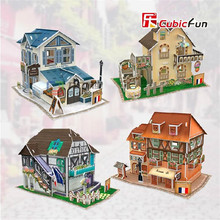Cubic Fun DIY 3D Puzzle Jigsaw Puzzle World Styles Model Kids Toys France Flavor Puzzle 3D Model Birthday Gifts Educational Toy