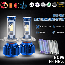 2017 New 60W 5000LM H4 HB2 9003  COB LED Headlight Kit 3K 6K 10K Bulb Lamp IP68 12V 24V  Automobiles accessories