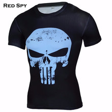 New 2016 Compression Shirt 3D Punisher Skull Captain America Superman T Shirt Fitness Tights Casual Batman Shirts Brand Clothing(China)