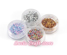 1mm Mixed 4 colors glitters sequins Nail Art Tips Design Tool Decoration Accessories 4boxs/lot,1box/color 083004039