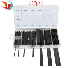 127pcs/set Black Heat Shrink Assortment Tube In Box Wire Wrap Electrical Insulation