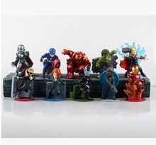 Marvel Avengers 2 Age of Ultron Hulk thor lack Widow Vision Ultron Iron Man Captain America PVC Figures Toys 10pcs/set T3039