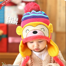 Winter Beanie Cap Kid Infant Cartoon Monkey Crochet Earflap Hat Neck Warmer For Newborn Baby