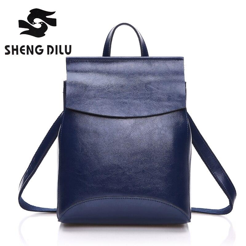 2017 Hot Sale 100% Genuine Leather Backpack,Cow Mochila Shengdilu Brand New Women Shoulder Bag,Cashmere School Bag Free Shipping<br>