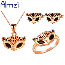 Almei Cheap Fashion Jewelry Sets Fox New Jewellery Silver Bijouterie Wedding Accessories Necklace Pendientes Ornamentation T185