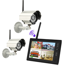 7 inch Digital TFT 2.4G Wireless Cameras Audio Video Baby Monitors 4CH Quad DVR Security System With IR night light Camera(China)