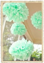 Mint 25cm/20cm/15cm 15pcs Mixed Sizes Tissue Paper Pom Poms Flower Balls Hanging Decoration Party Birthday Wedding