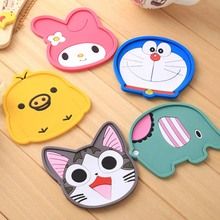 1 Piece silicone dining table placemat coaster kitchen accessories mat cup bar mug cartoon animal drink pads(China)