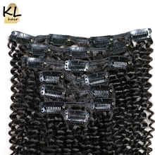 Mongolian Kinky Curly Clip in Human Hair Extensions Natural Color Remy Hair Clip-in Full Head 7Pcs/Set Free Shipping by KL Hair