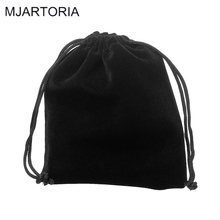 MJARTORIA 40PCs Black Velvet Bag For Jewelry Packaging & Display Velvet Drawstring Pouches Jewelry Gift Bags 15x10cm(China)