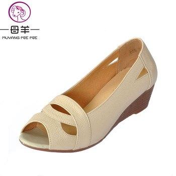 Plus la taille (35-43) 2017 D'été chaussures Femme à bout ouvert Femmes Cales en cuir véritable sandales Occasionnels plate-forme sandales Femmes Sandales