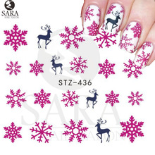 Nail Salon 1Sheet Xmas Christmas Nail Art Water Decals Pink Snowflake Snowman Transfer Stickers SASTZ436(China)