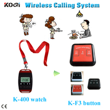 restaurant coaster pager system for restaurant, club, GYM, KTV with 3pcs watch and 15pcs table call button(China)