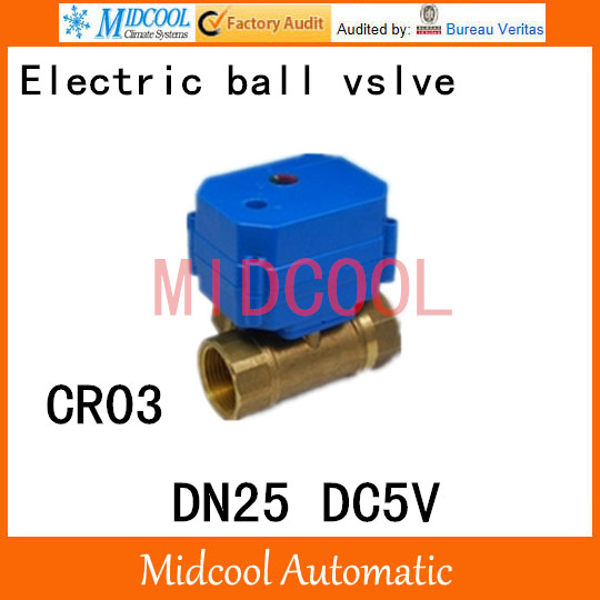 Brass Motorized Ball Valve 1 DN25 Water control Angle valve DC5V electrical ball (two-way) valve wires CR-04<br><br>Aliexpress