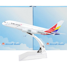 KOREA Asiana Airlines A380 16cm Alloy Metal Airplane Models Child Birthday Gift Plane Models Toy Free Shipping(China)