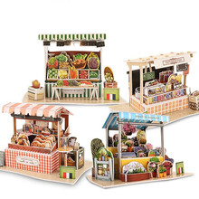 DIY Cubic Fun 3D Puzzle World Style Cafe Fruit Store Paperboard Model , France Features Flavor Puzzle 3D Model, Puzzle Kid Toys