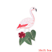 FUNIQUE 1Pc Flamingo Patches For Clothing Iron On Patches Applique Stickers Backpack Hats Jeans Bag Sewing Accessories