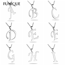FUNIQUE 1PC Charm Stainless Steel Stamping Letters Alphabet Necklaces & Pendants For DIY Necklace Jewelry Findings Without Chain
