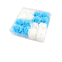 UXCELL 16 In 1 White Blue Scented Bath Soap Rose Petal In Square Box