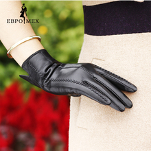 Special promotions fashion Female gloves,Genuine Leather,Length 25 cm,Black leather gloves,Ladies gloves, winter Women's Gloves(China)