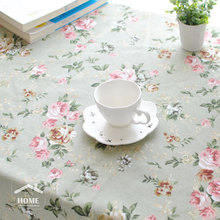 be Home High quality Pastoral Style Japan Style Linen pink rose  tablecloth table cover table cloth for home and coffee shop