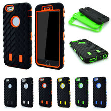 3 in 1 Combo 3D Tire Shockproof Case For iPhone 7 Plus 6 6S 5 5S SE PC Silicone Rugged Grain Defender Heavy Duty Armor Cover(China)