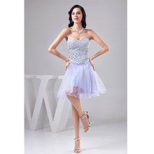 Custom Made Vestido De Festa Curto Lavender Tulle Beading Crystal Mini A-Line Cocktail Dress Short Prom Dress