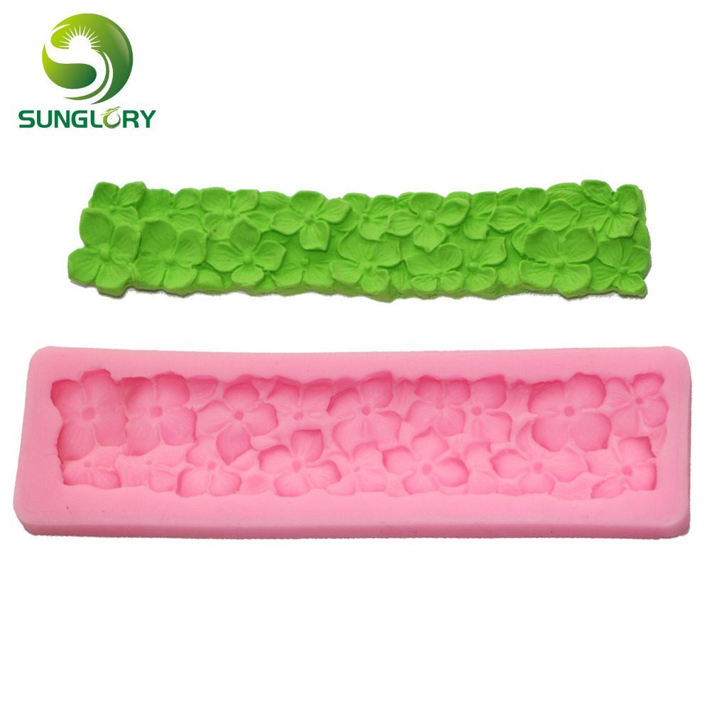 1PC Hot-Sale Flower Pattern Fondant Cake Decorating Moldes Silicone 3D Styling Tools Party Decoration Mould For Soap Color Pink(China)