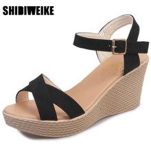 SHIDIWEIKE  Hot sale 2017 Women Sandals summer diamond casual fashion fish mouth shoes wedge sandals women shoes free shipp