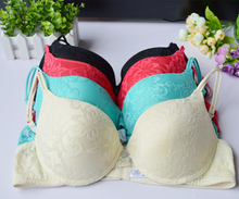 New Support Padded Thick Padded Push Up Embroidery Floral Lace Bra Underwear Bras Plunge BH Lingerie Size 32 34 36 38 40 A B C D