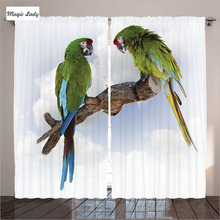 Curtains Made In Russia Living Room Bedroom Two Parrot Macaw Branch Birds Nature Green White Brown 2 Panels Set 145*265 sm