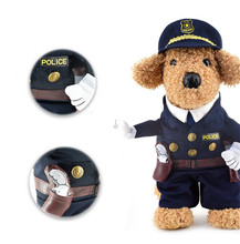 S-XL Dogs Clothes Policeman Cosplay Costume Dog Clothing Pet Festival Party Performance Clothes Creative Gift Free Shipping