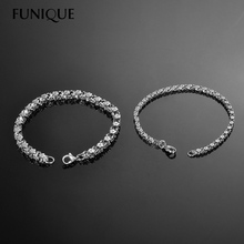 FUNIQUE Women Bracelet Stainless Steel Flowers Necklace Square Lobster Clasp Bracelet 20cm Romantic Style Bracelet
