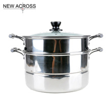 JUH Cookware Sets Double Layer Steamer Stainless Steel Pot Sauce boxes Large Steamer 28cm Electromagnetic Furnace Pots(China)