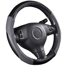 Car-pass steering-wheel 38cm Pvc Leather Hand-stitched genuine leather Car Steering Wheel Cover Fit For Most Cars Styling(China)