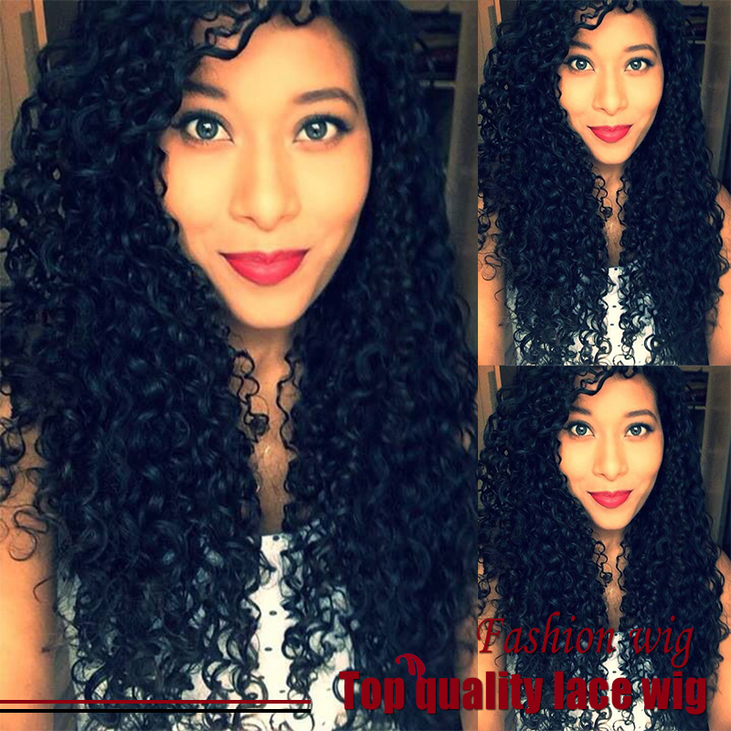 Hot Selling Brazilian 26 Inch Fiber Kinky Curly Wig Black Synthetic Lace Front Wigs With Baby Haiy Heat Resistant Free Shipping<br><br>Aliexpress