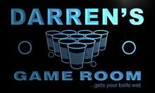 x0240-tm Darren's Beer Pong Game Room Custom Personalized Name Neon Sign Wholesale Dropshipping On/Off Switch 7 Colors DHL