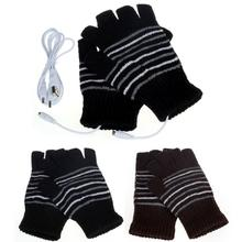 2017 New Design 5V USB Powered Heating Heated Winter Hand Warmer Gloves Washable Exposed fingers stripe Glove