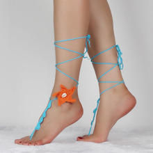 2016 New Cotton Crochet Circle Barefoot Sandals Wedding Yoga anklets summer style Orange starfish shell anklets Women 1 Pcs