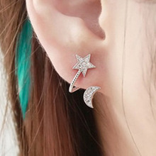 Hot Sale 1 Pair 2 Color High Quality Ctystal Moon And Star Ear Cuff Earrings For Women Fashion Jewelry