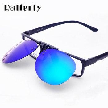 Ralferty piloto espelho polarizada óculos de sol dos homens lente de visão noturna óculos de sol polaroid flip up clip on óculos de sol óculos ao ar livre