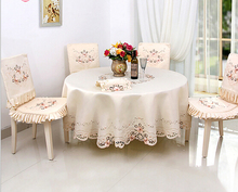 Home hotel dining/wedding Red embroidered Table Cloth Jacquard Floral Round Tablecloth