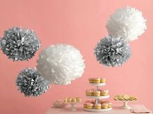 "5pcs (Metalic silver,White) 8""/15cm Tissue Paper Pom Poms Flower Balls Hanging Decoration Party Birthday Wedding"