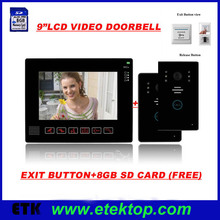 "9""LCD Monitor Two To One Video Intercom Door Phone Doorbell IR Camera Picture Recorder Wide View Touch Button Doorbell Doorphone"