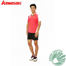 Genuine 2017 Kawasaki Badminton Clothes ST-171016 Male Sports V-neck Team T-shirts With Short Sleeves