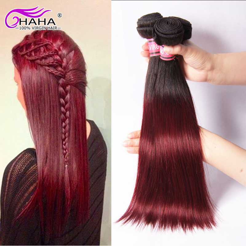 Red Malaysian Hair Straight 3Pcs/Lot Queen Hair Products Wine Red  Extensions Burgundy Human Hair Weaves Free Shipping<br><br>Aliexpress