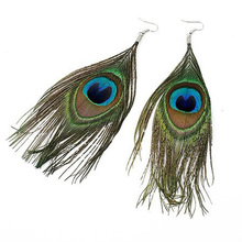 Retro Boho Peacock Feather Earrings For Women Coloful brinco boucle d'oreille femme pendientes mujer moda Free Shipping(China)