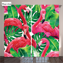 Windows Kitchen Curtains Decor Flamingos Tropic Exotic Leaves Curtains Pink Green Living Room Bedroo Curtains Kitchen Windows D