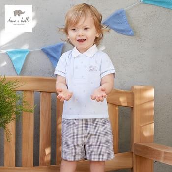 Db3306 dave bella verão xadrez grade roupas crianças marinheiro elegante conjunto de roupas meninos fresco